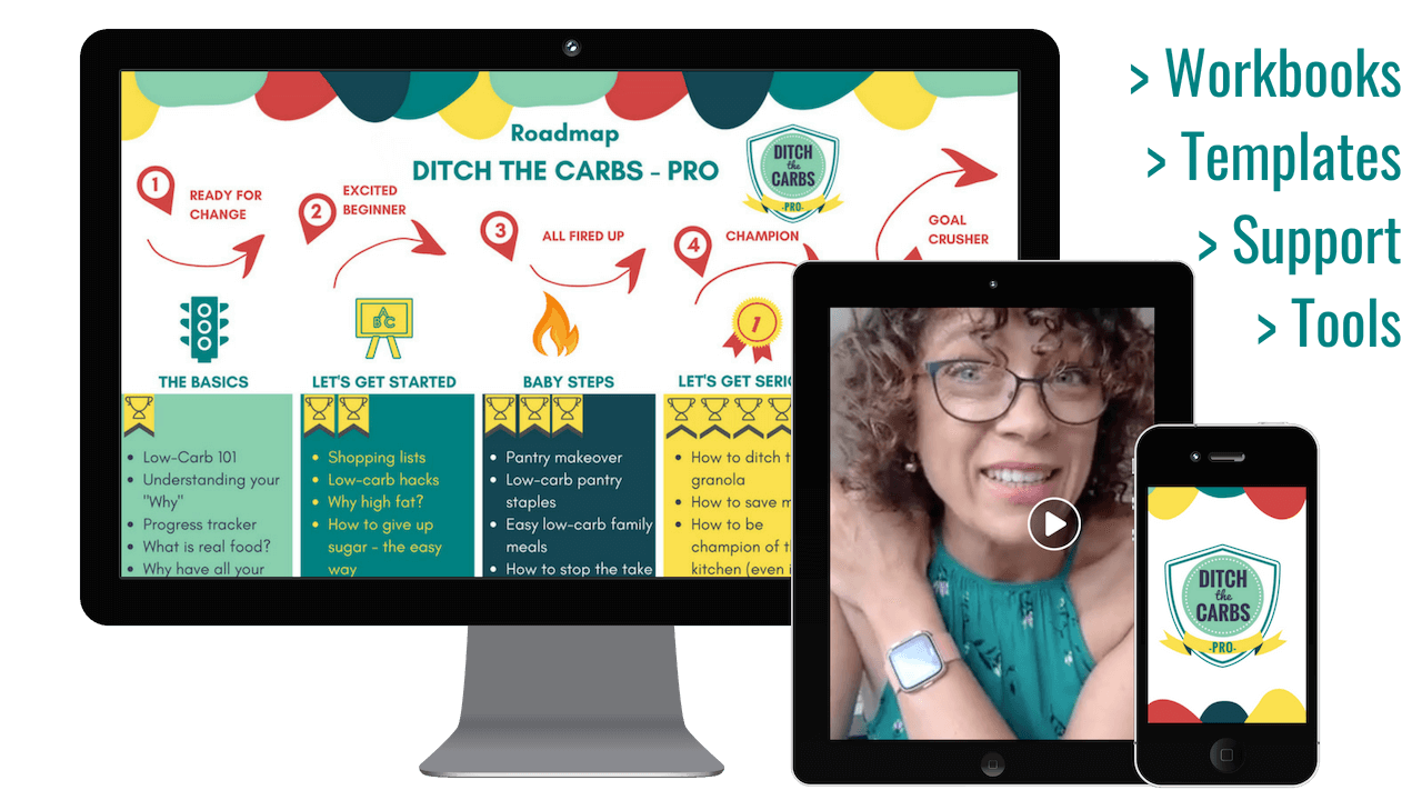The best low-carb course with guided live support and all the tools you'll need. Video lessons, workbooks, Q&A sessions, templates and so much more. the most successful low-carb course.
