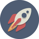 icon showing silver rocket and flames