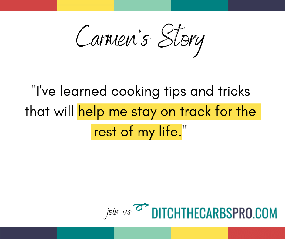 low-carb membership testimonial from Carmen